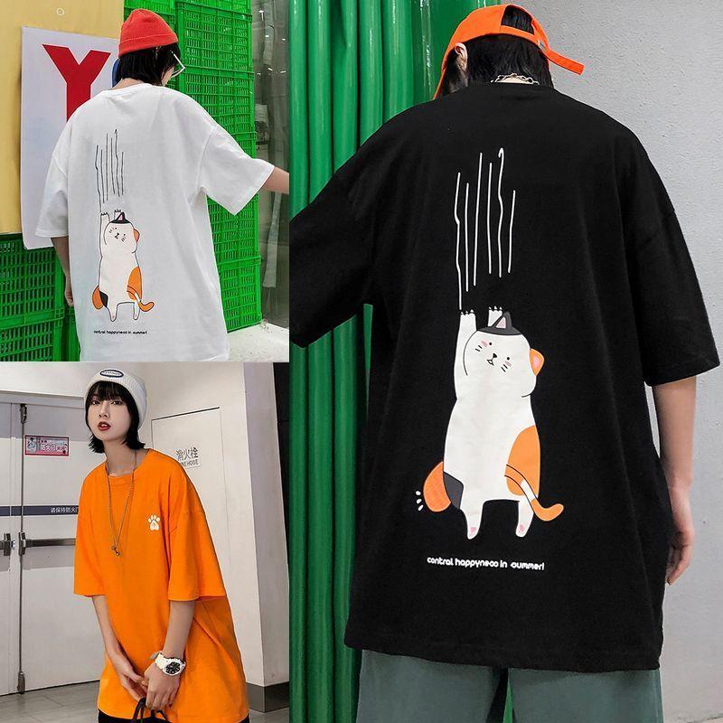 ユニセックス 半袖 Tシャツ メンズ レディース 肉球 爪とぎ猫 バックプリント オーバーサイズ 大きいサイズ ルーズ ストリート