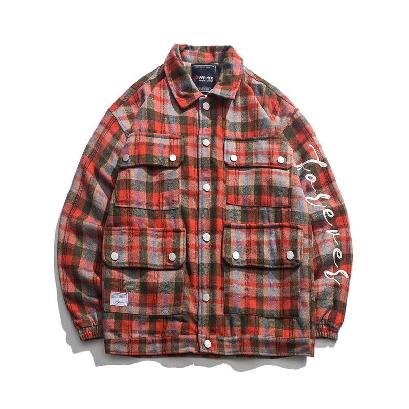 【UNISEX】マルチポケット チェック シャツ ジャケット【1colour】
