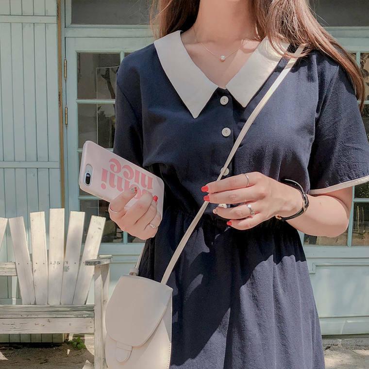 【送料無料】 上品モテワンピ♡ バイカラー 襟付き ロング ワンピース フレンチ レトロ ハイウエスト