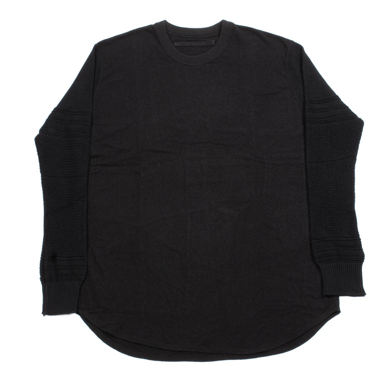 717CUM9-BLACK / ニットヘムロングスリーブTシャツ