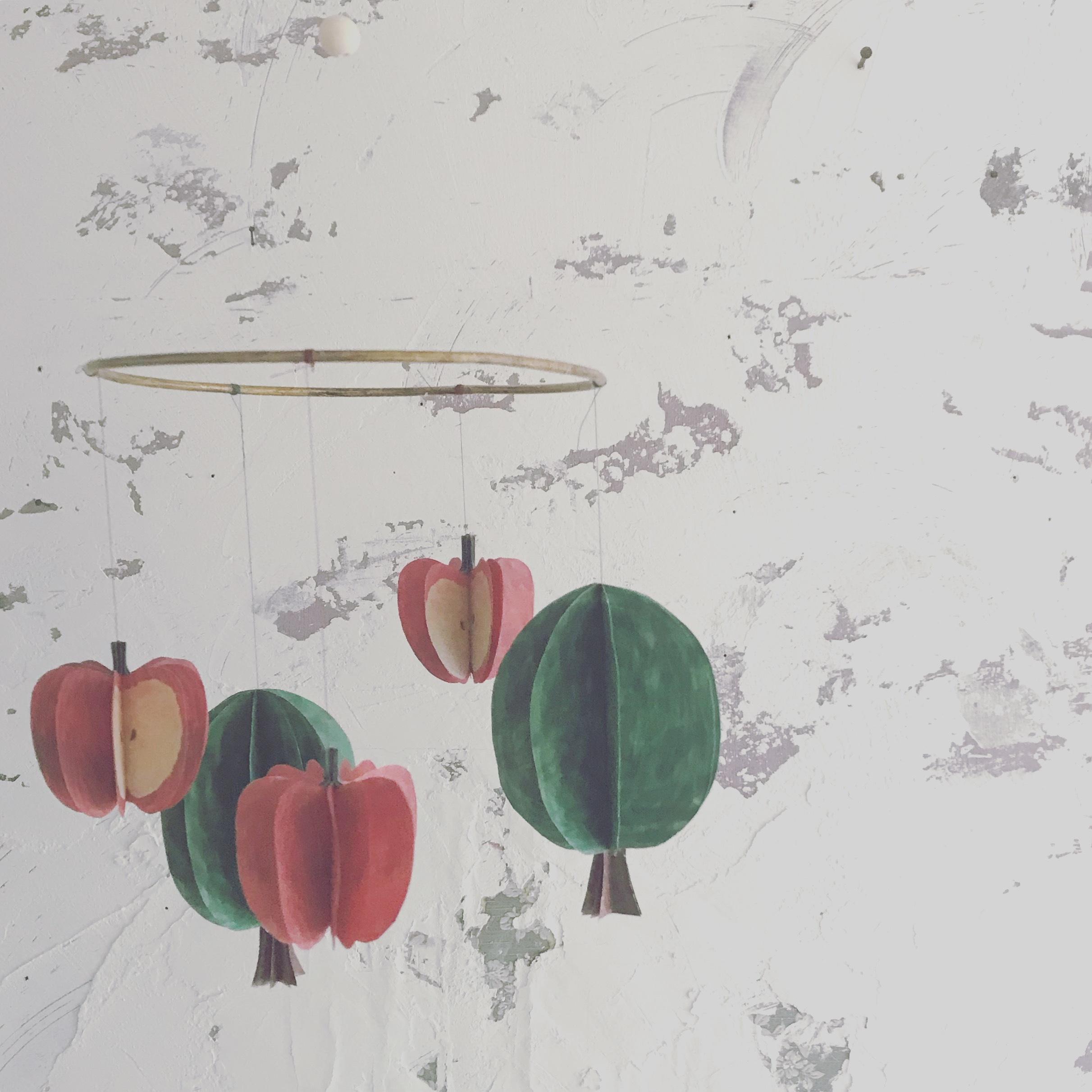 【お教室 】01 木とりんごのモビールづくり