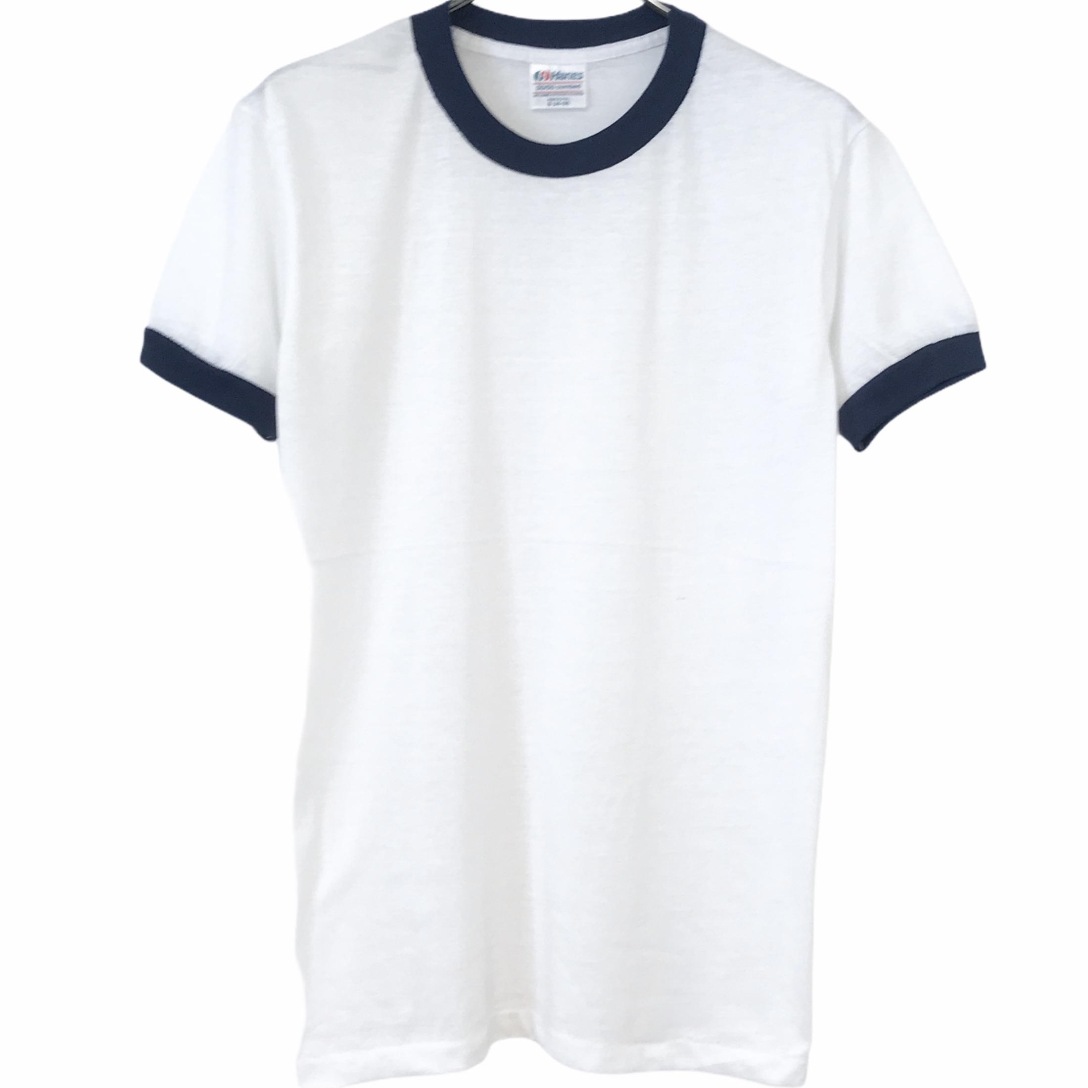 Dead Stock! 80's Hanes Ringer T-shirt made in USA Navy