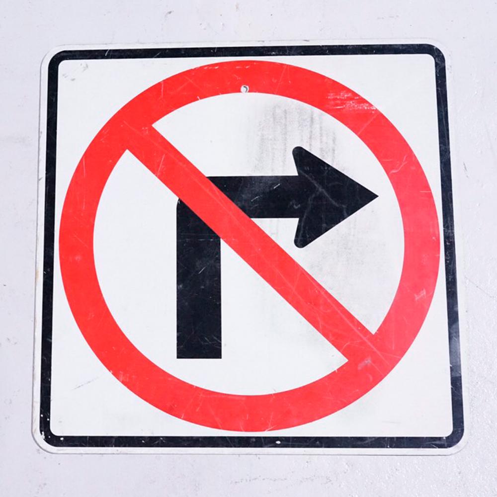 No Right Turn アメリカンロードサイン 道路標識