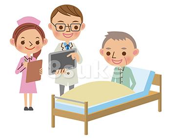 イラスト素材:タブレット端末を使って患者へ説明する回診中の医師(ベクター・JPG)