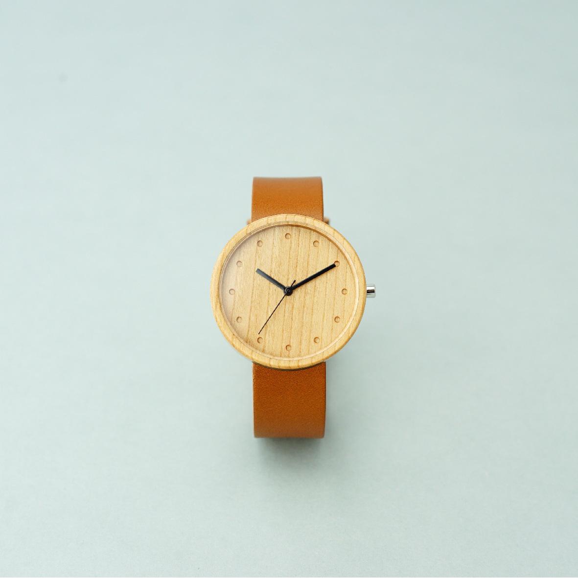 Cherry wood - Organic leather Honey - L