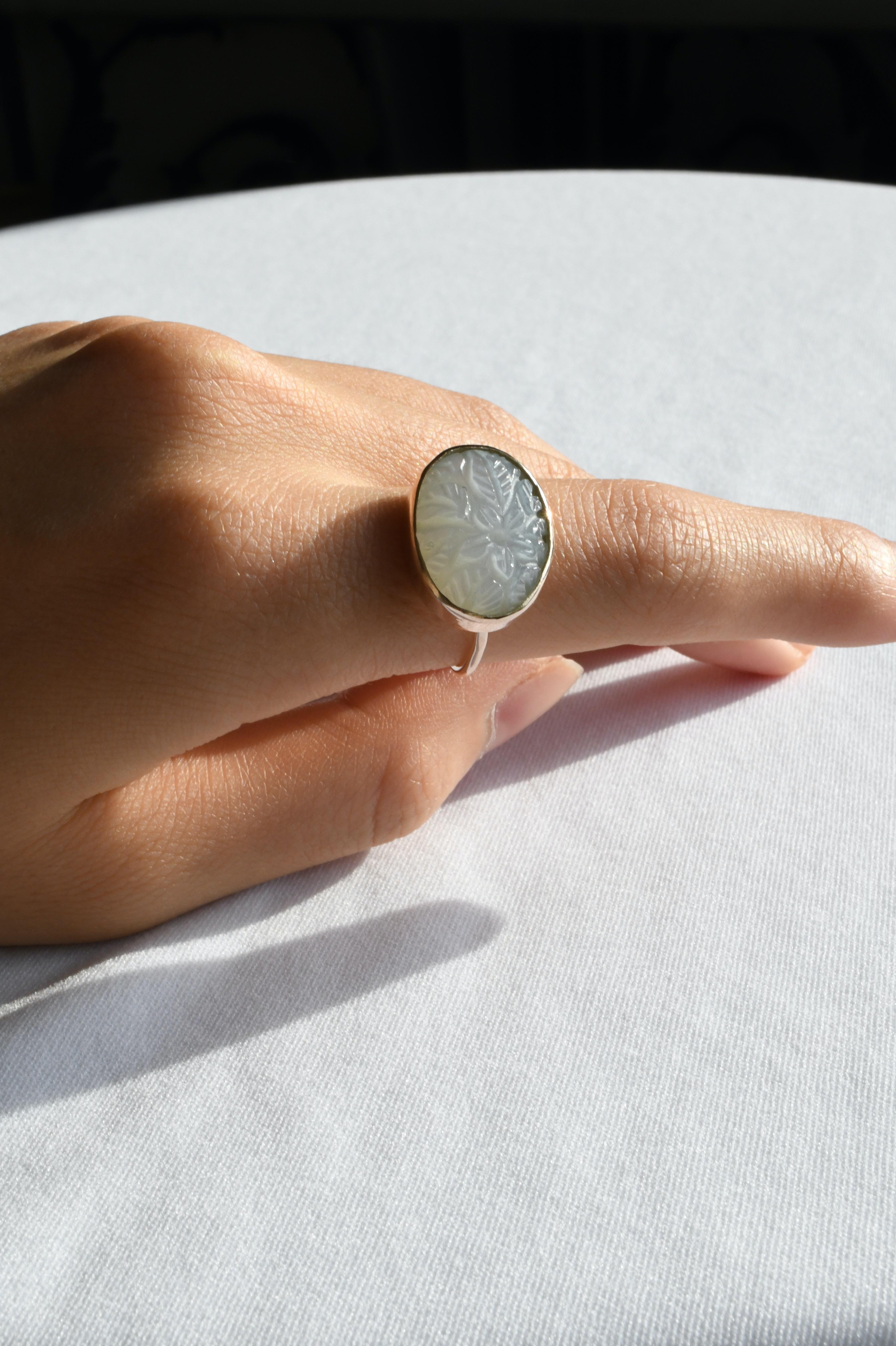 K10 Carving Moonstone Ring 10金カービングムーンストーンリング