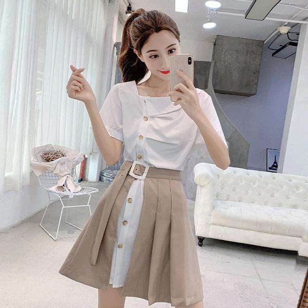 【set】ファッション人気Tシャツ+スカートセットアップ22330754