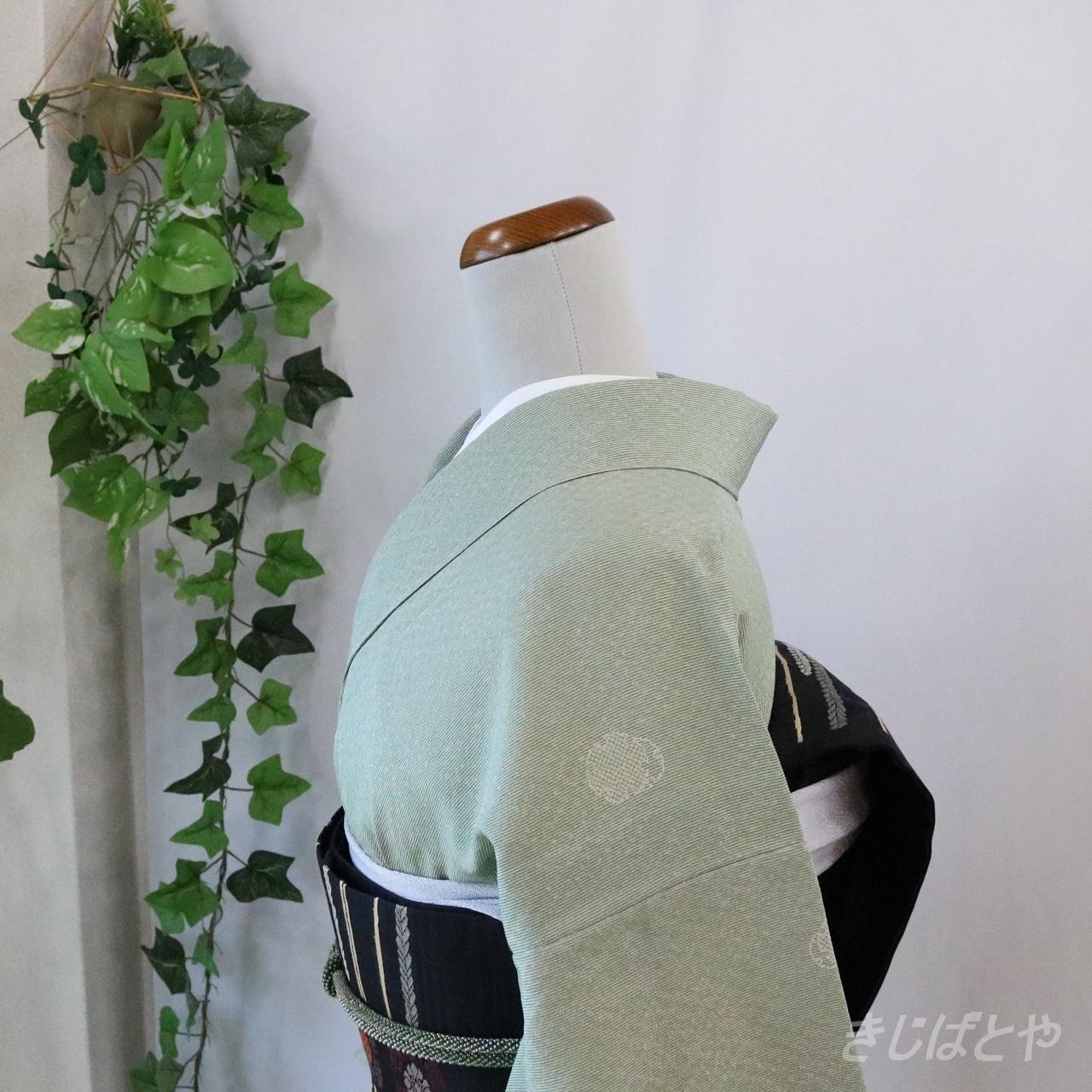 正絹ちりめん 竹縞に雪輪の江戸小紋 単衣