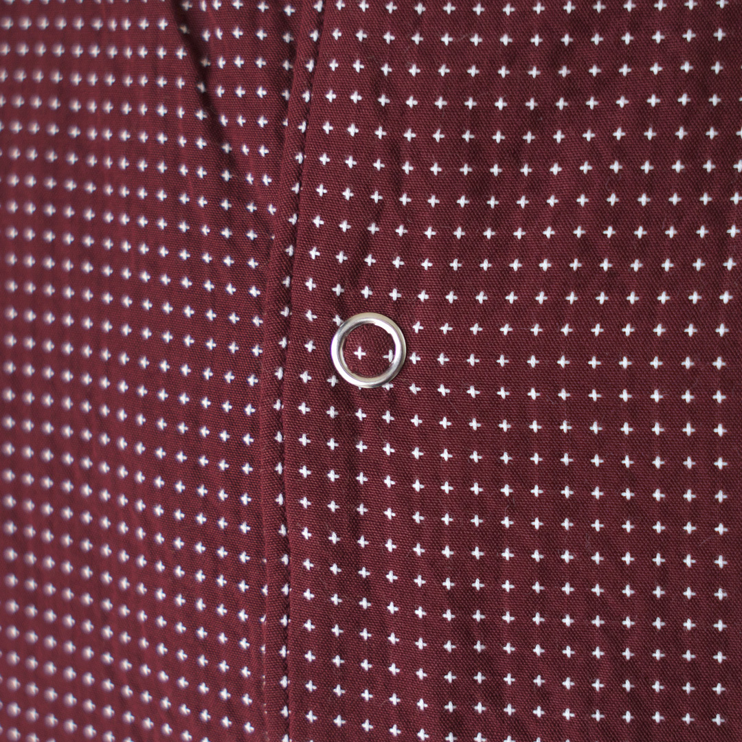 Manual Alphabet マニュアルアルファベット 刺し子オープンカラーシャツ・バーガンディー