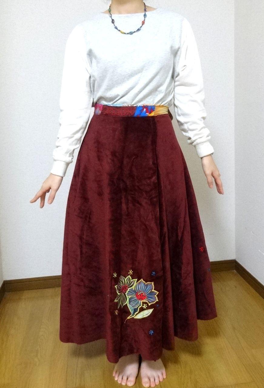 EMS-021MA ベルベット刺繍×シルク巻きスカート エンジ