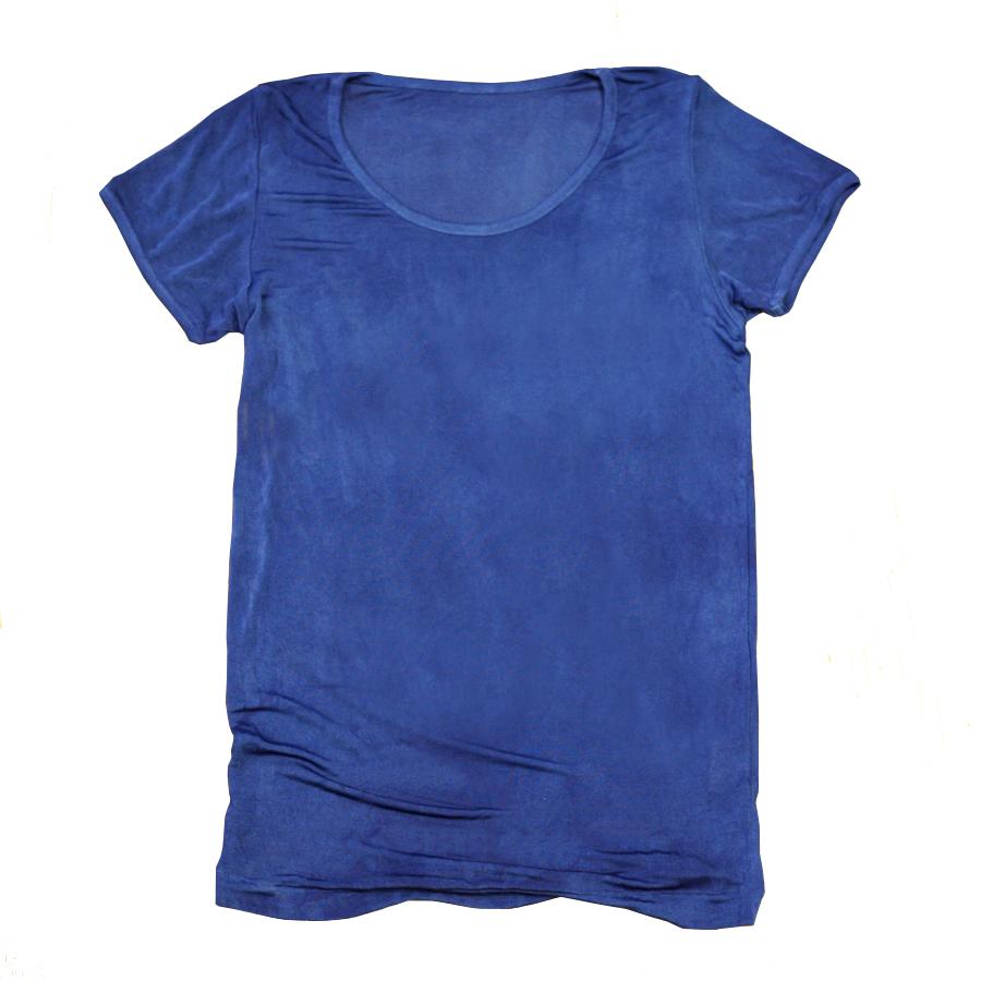 藍染めシルク100%半袖カットソー~紺瑠璃(こんるり)~