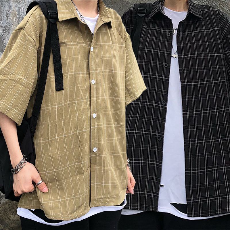 ユニセックス シャツ 半袖 メンズ レディース チェック柄 オーバーサイズ 大きいサイズ ルーズ ストリート