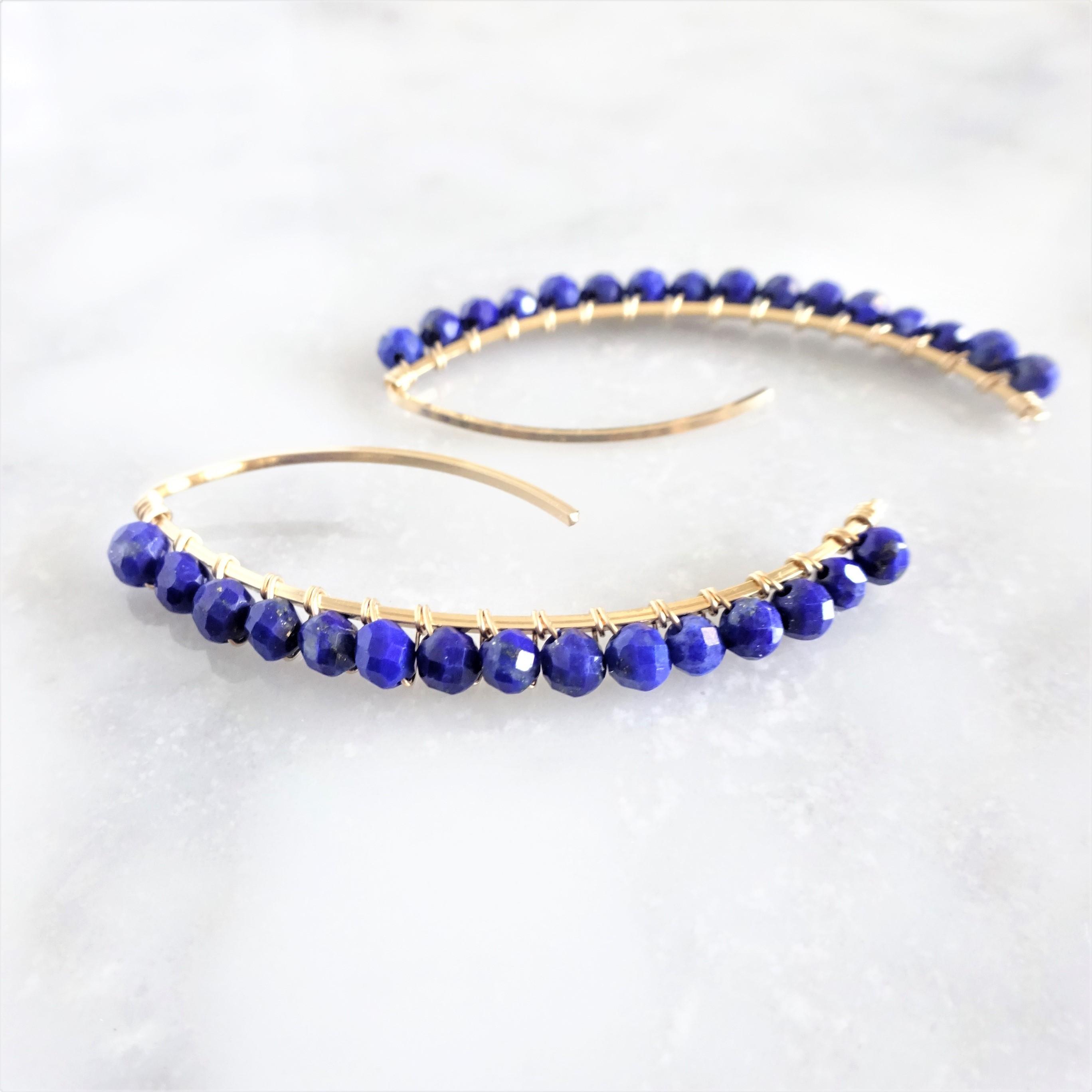送料無料 14kgf*宝石質Lapislazuri wrapped marquis pierced earring