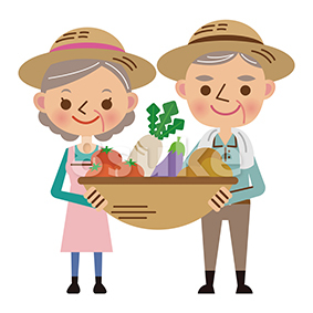 イラスト素材:収穫した野菜を持つ農家の老夫婦(ベクター・JPG)