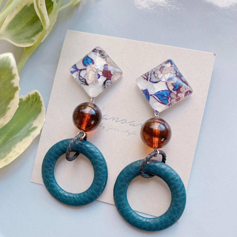 """ Earrings NO.danoan-89″ レザーパーツとリバティ"