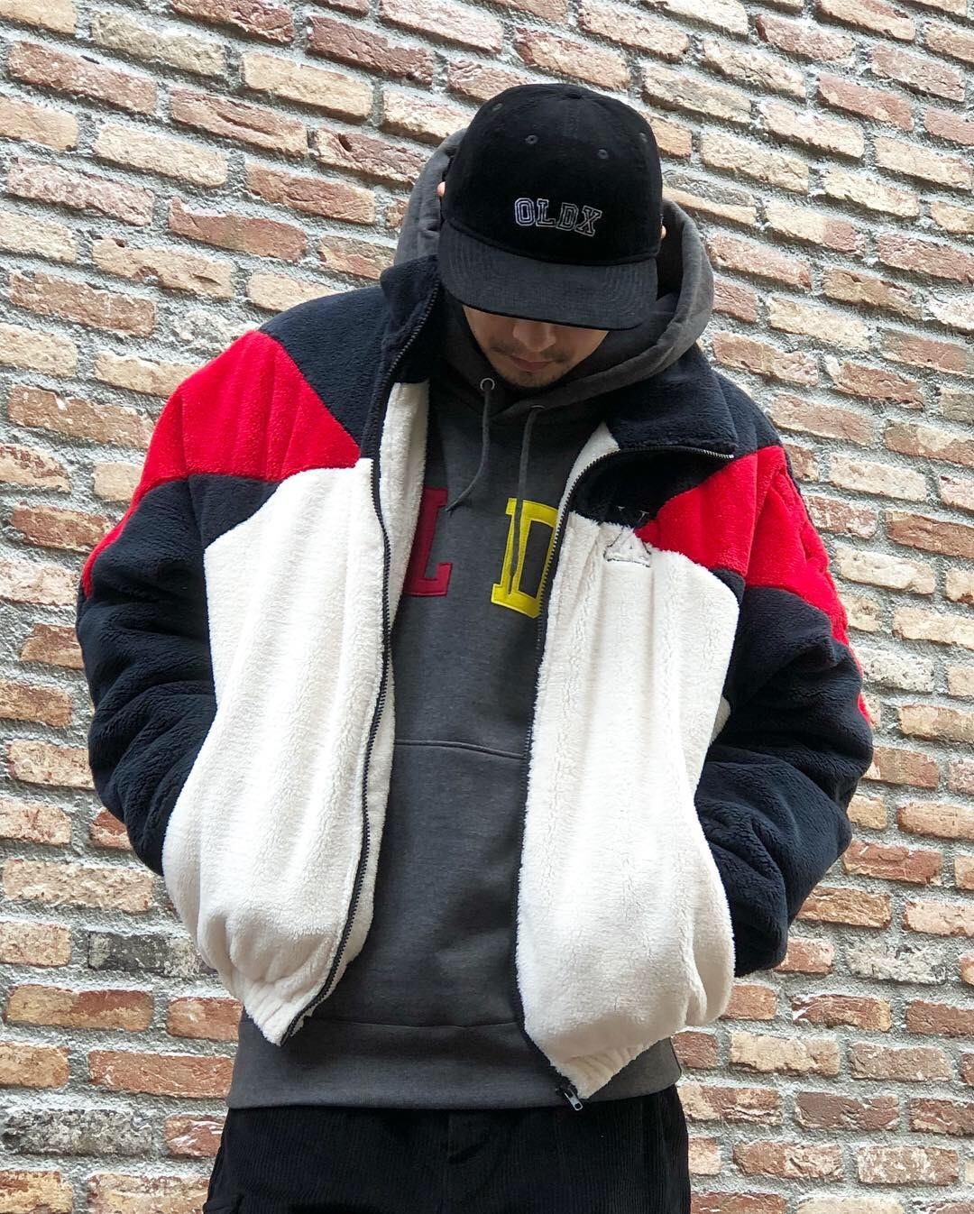 Fleece boa jacket WHT/NVY