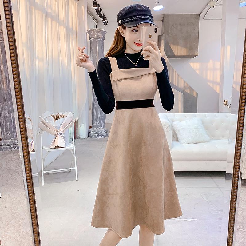 【set】ファッション無地セーター+ワンピースセットアップ25438257