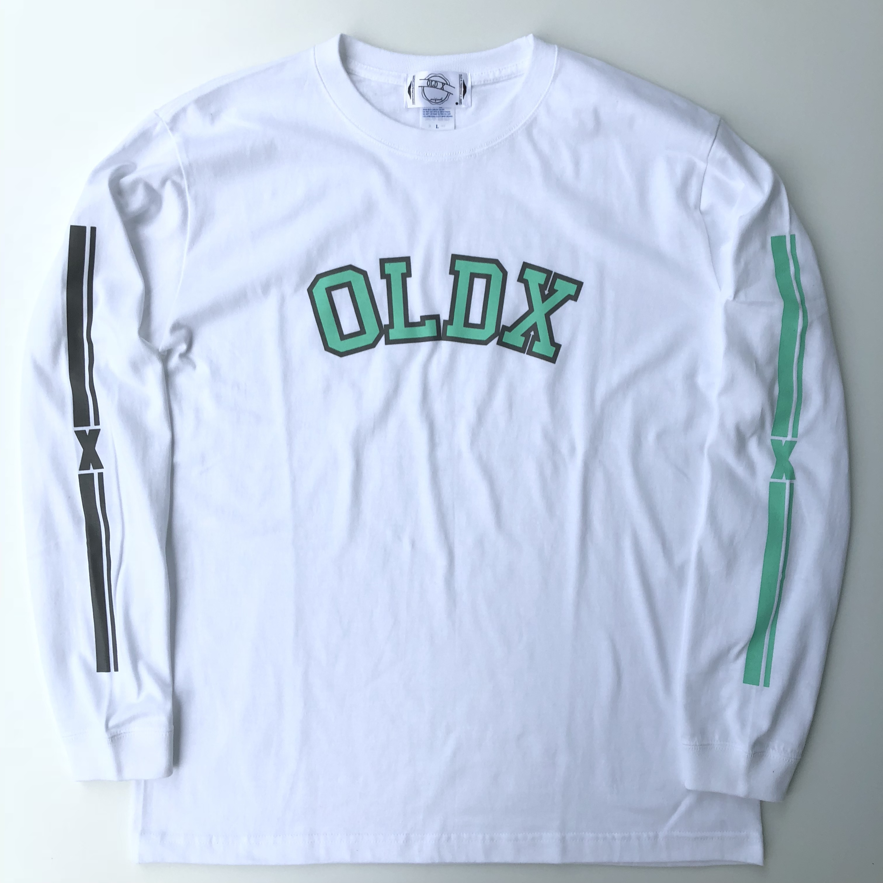 """X""long sleeve T-shirts WHT/EMERALD"