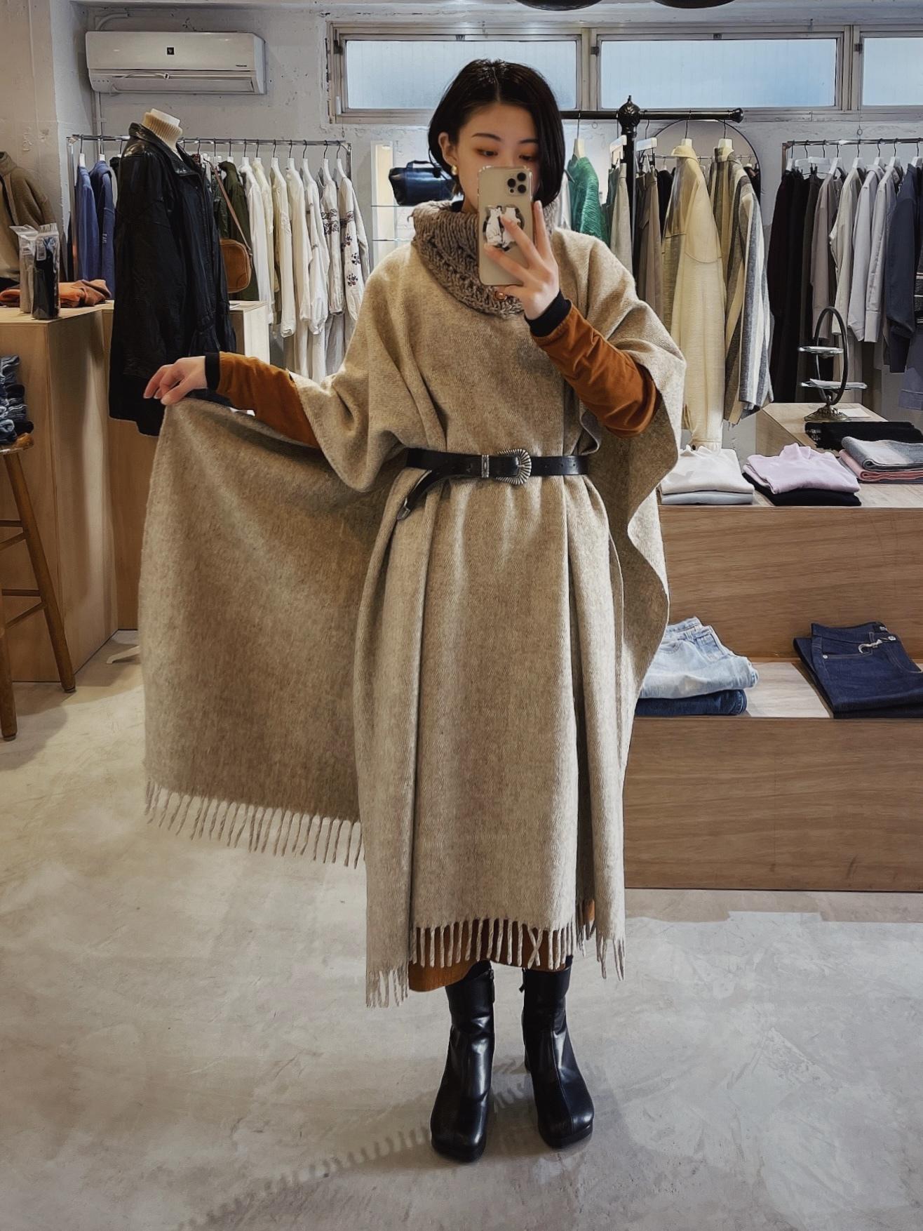 vintage wool×knit poncho