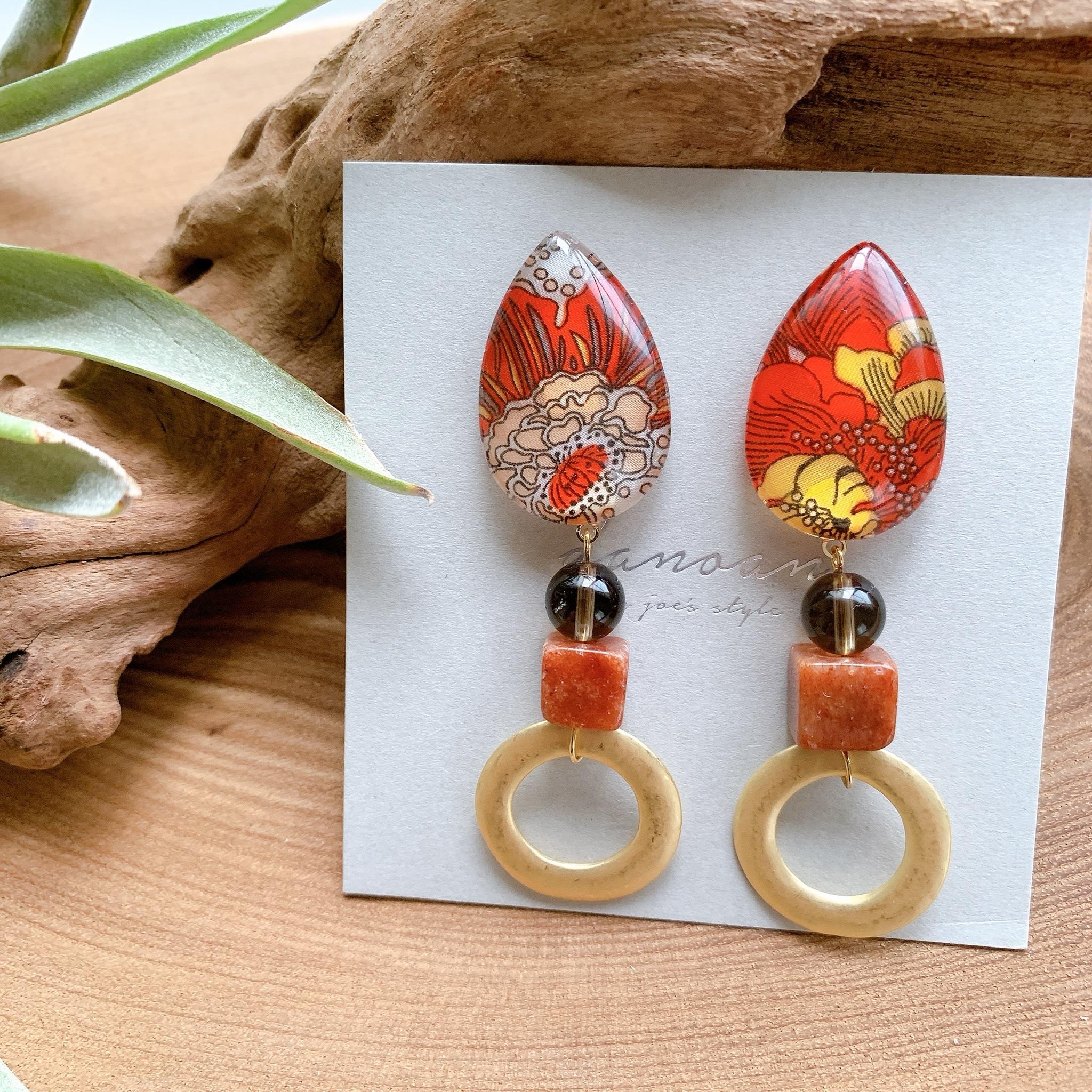 """ Earrings NO.danoan-66″ REDリバティと天然石"
