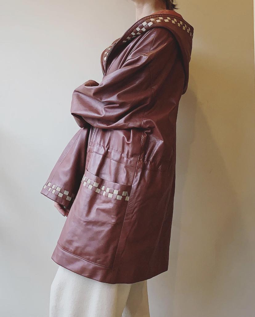 vintage hoodie leather jacket