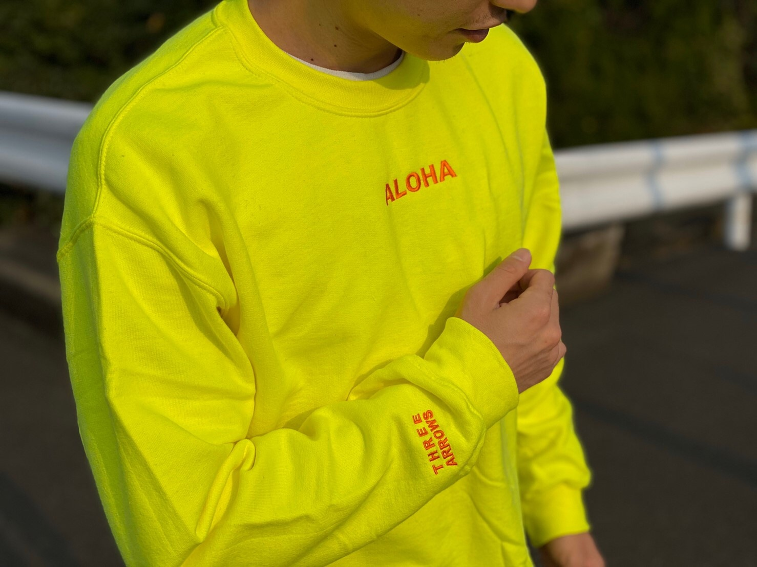 ALOHA 刺繍 SWEAT(neon yellow)