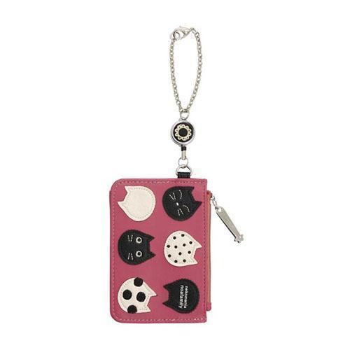 ネコタマ リール付きパスケース ピンク