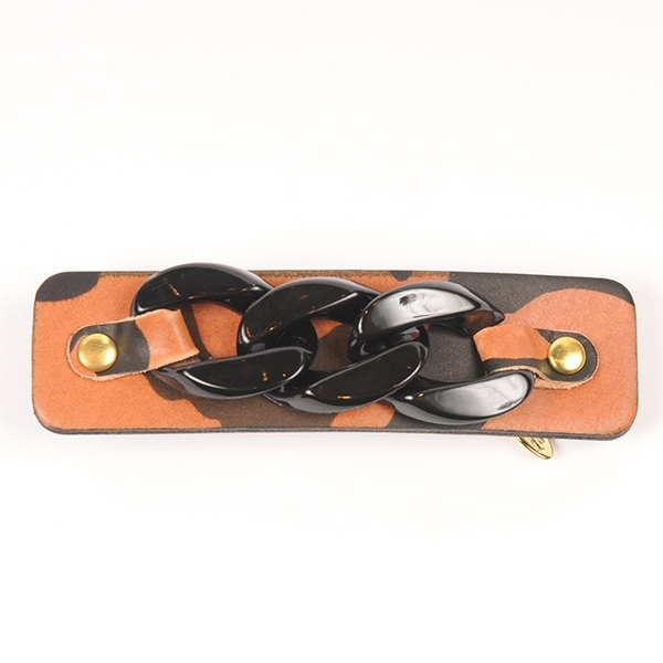 Joe17SS-59 chain leather barrette