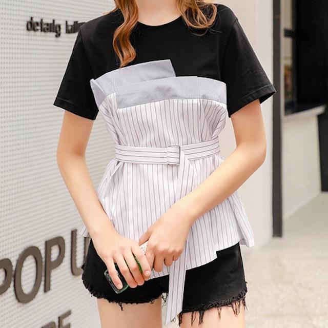 売れ筋☆おすすめ☆ 半袖 Tシャツ クルーネック ベルト ストライプ モノトーン バイカラー