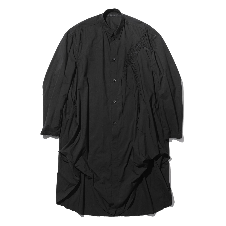 737SHM6-BLACK / 刺繍 ロングシャツ