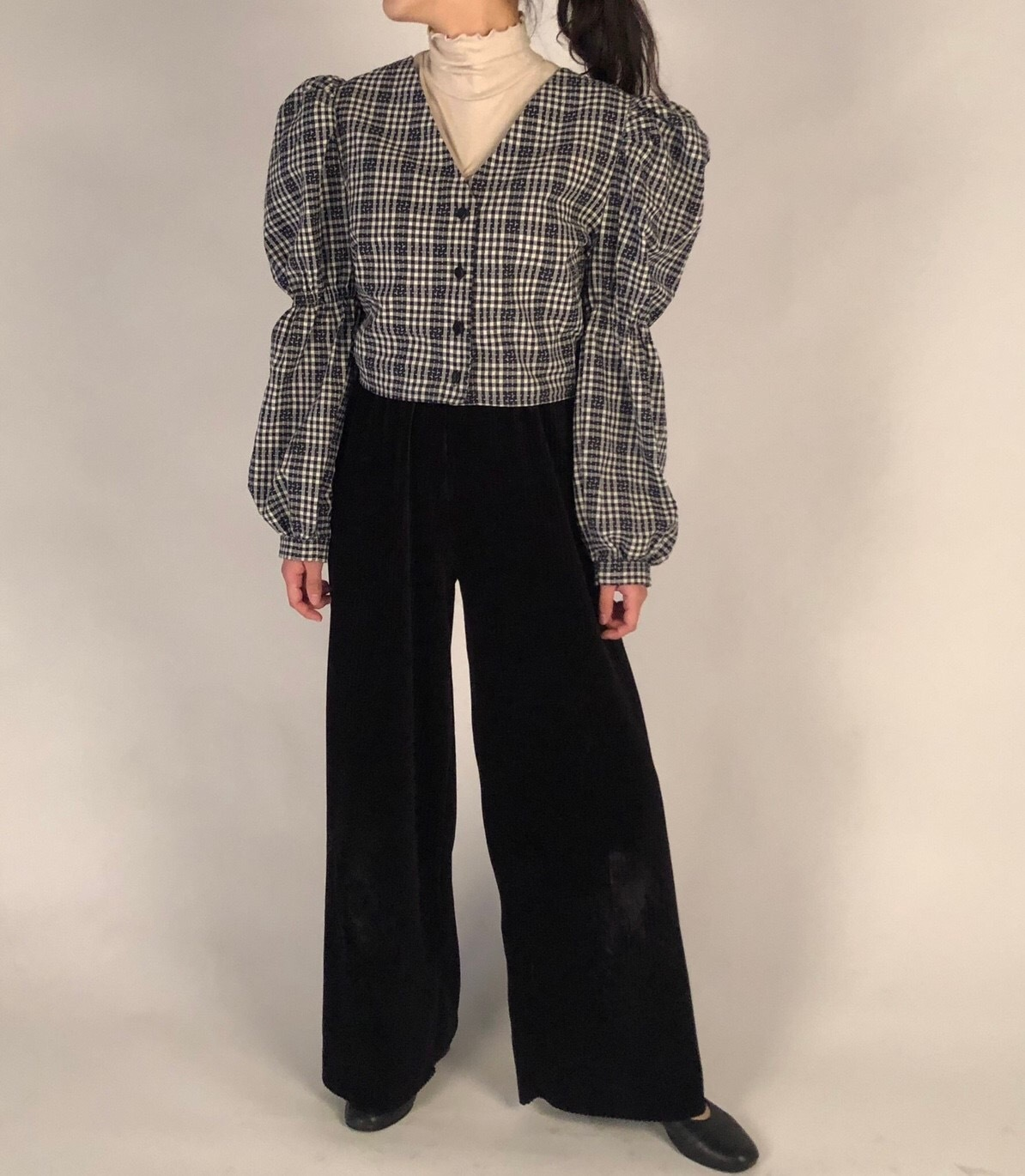 Corduroy wide pants