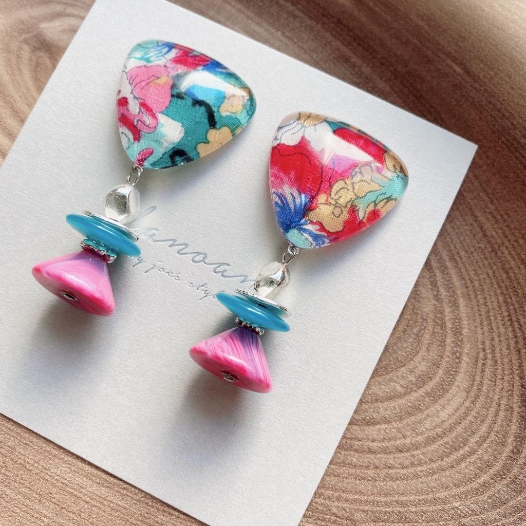 """ Earrings NO.danoan-116″ リバティと鮮やかヴィンテージパーツ"