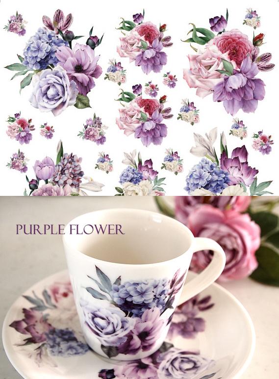 パープルフラワー転写紙 A4サイズ(ポーセラーツ用転写紙 紫の花)