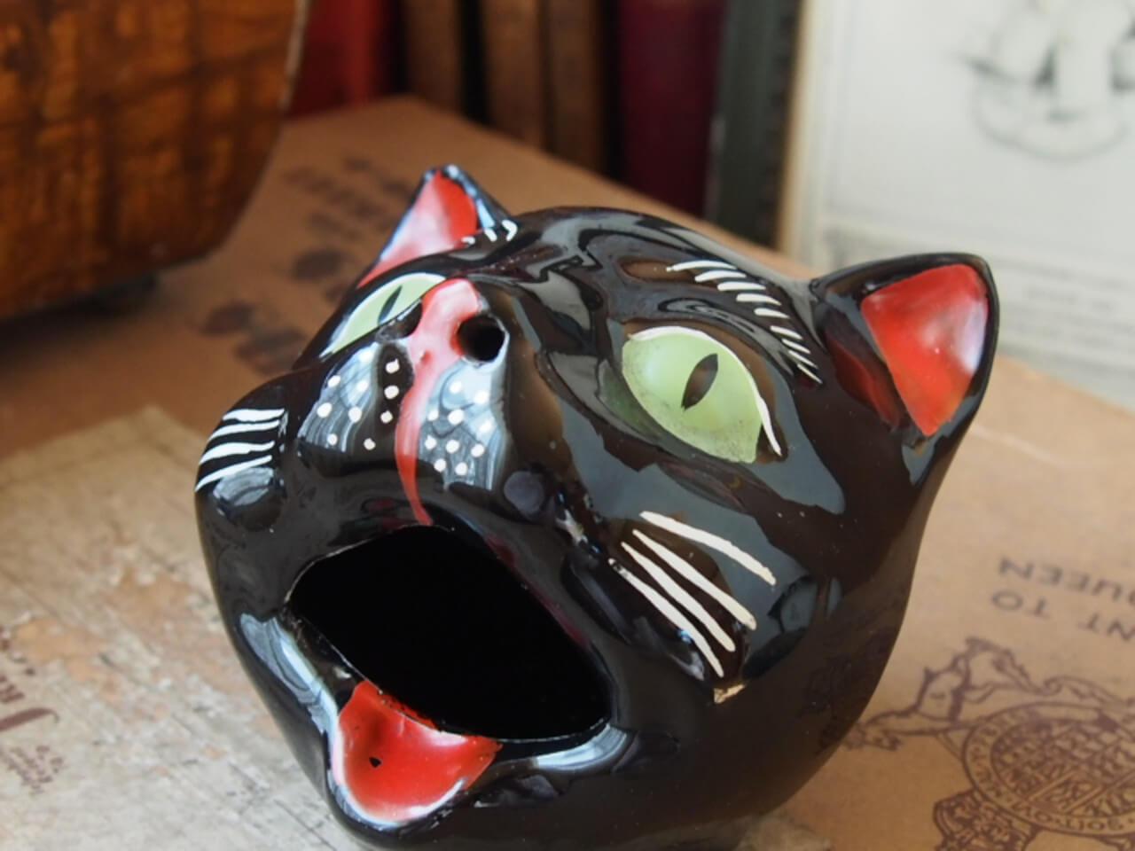 イギリスアンティーク アシュトレイ(黒ネコ)