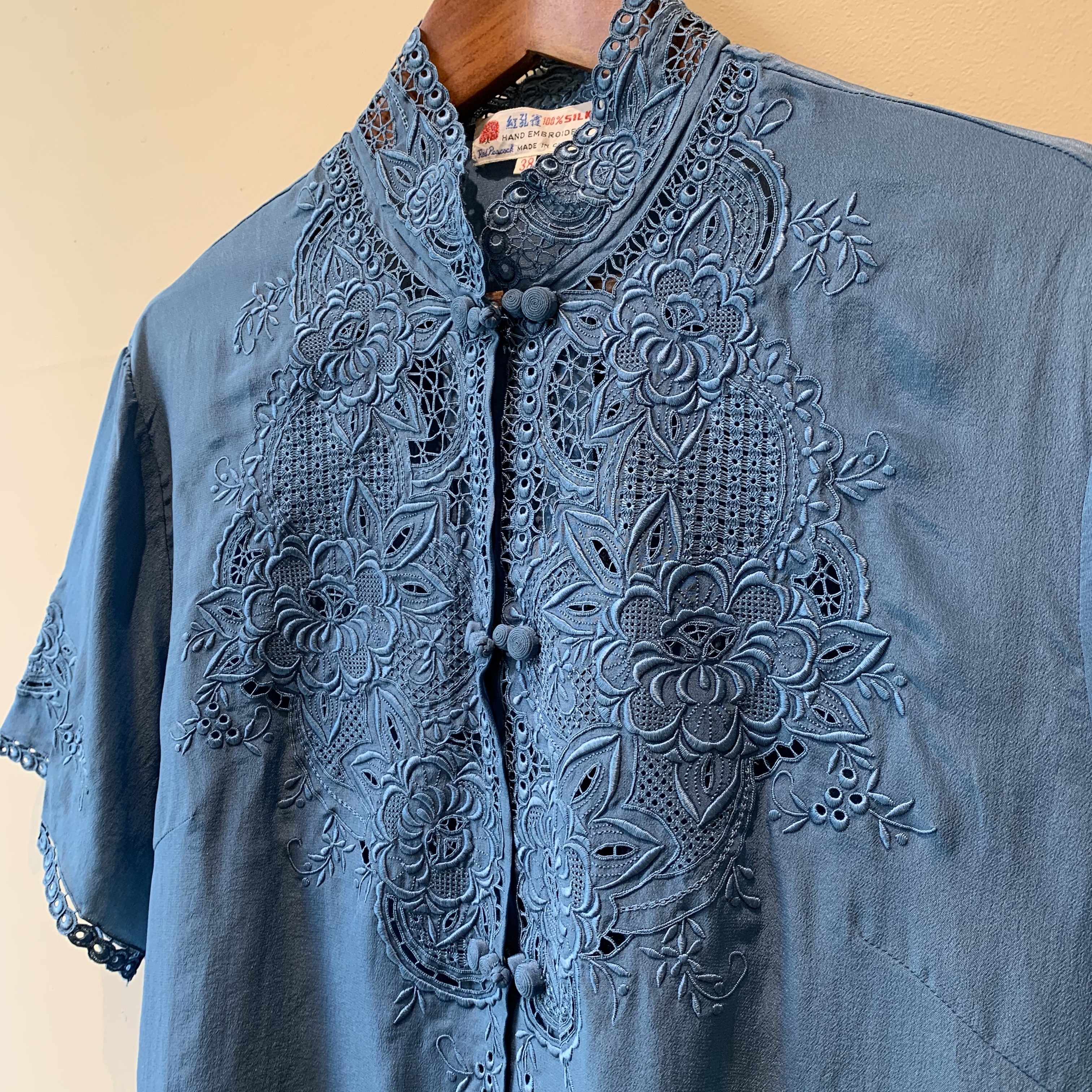 vintage lace and china design silk tops