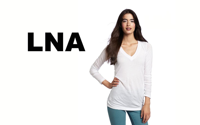 LNA/エルエヌエー ロングスリーブVネックシャツ/ホワイト
