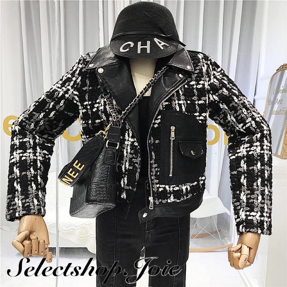 レザーmixツイードジャケット