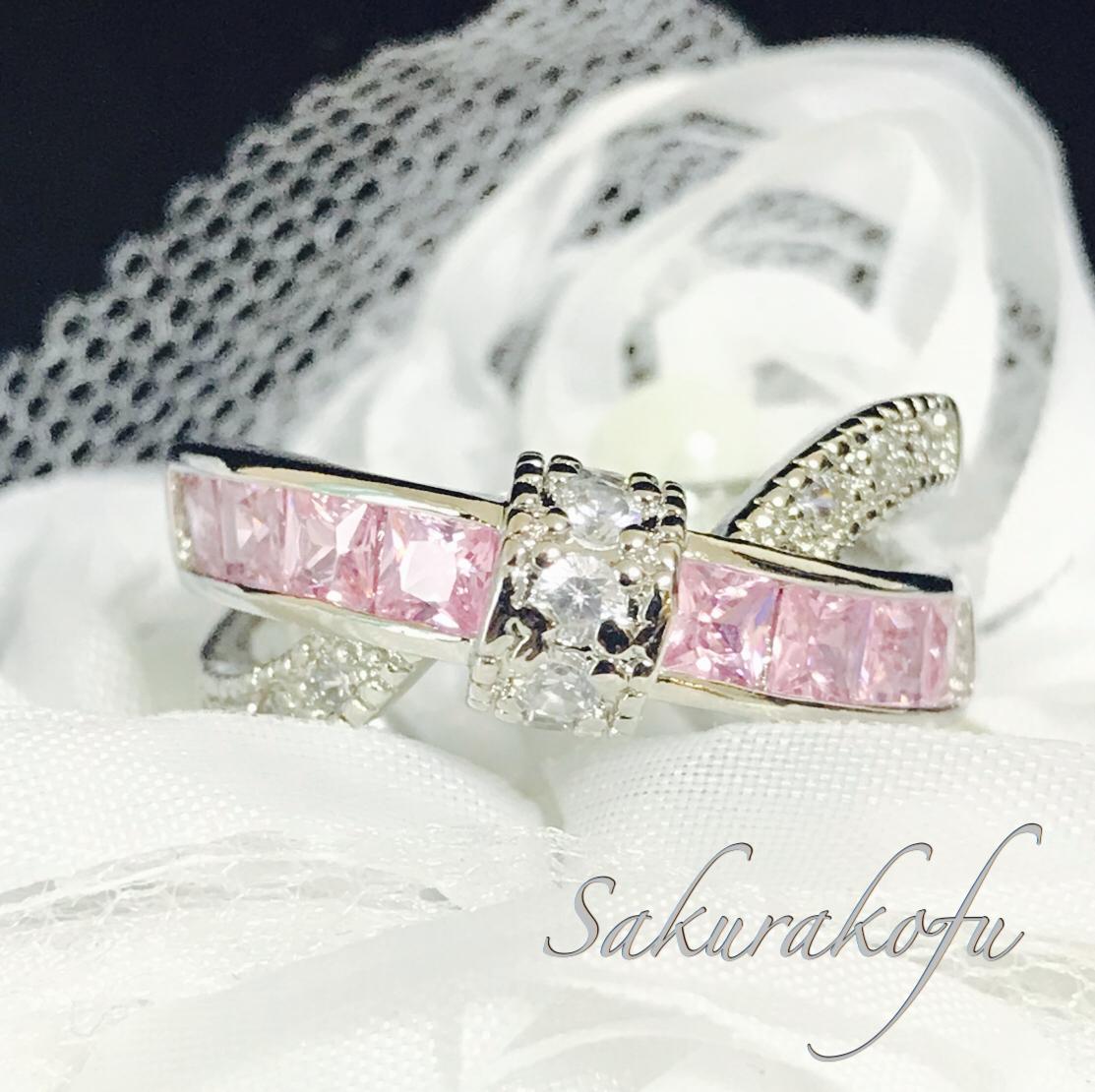 【送料無料】 B014 Cross Ribbon  Pink Sapphire Ring