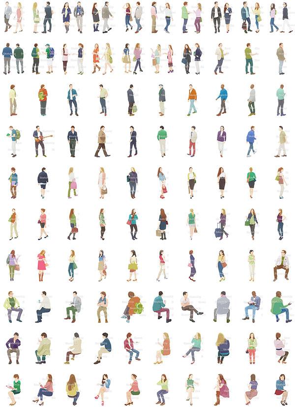 SketchUp素材外国人イラスト100個-淡い 4aa_018 - 画像3