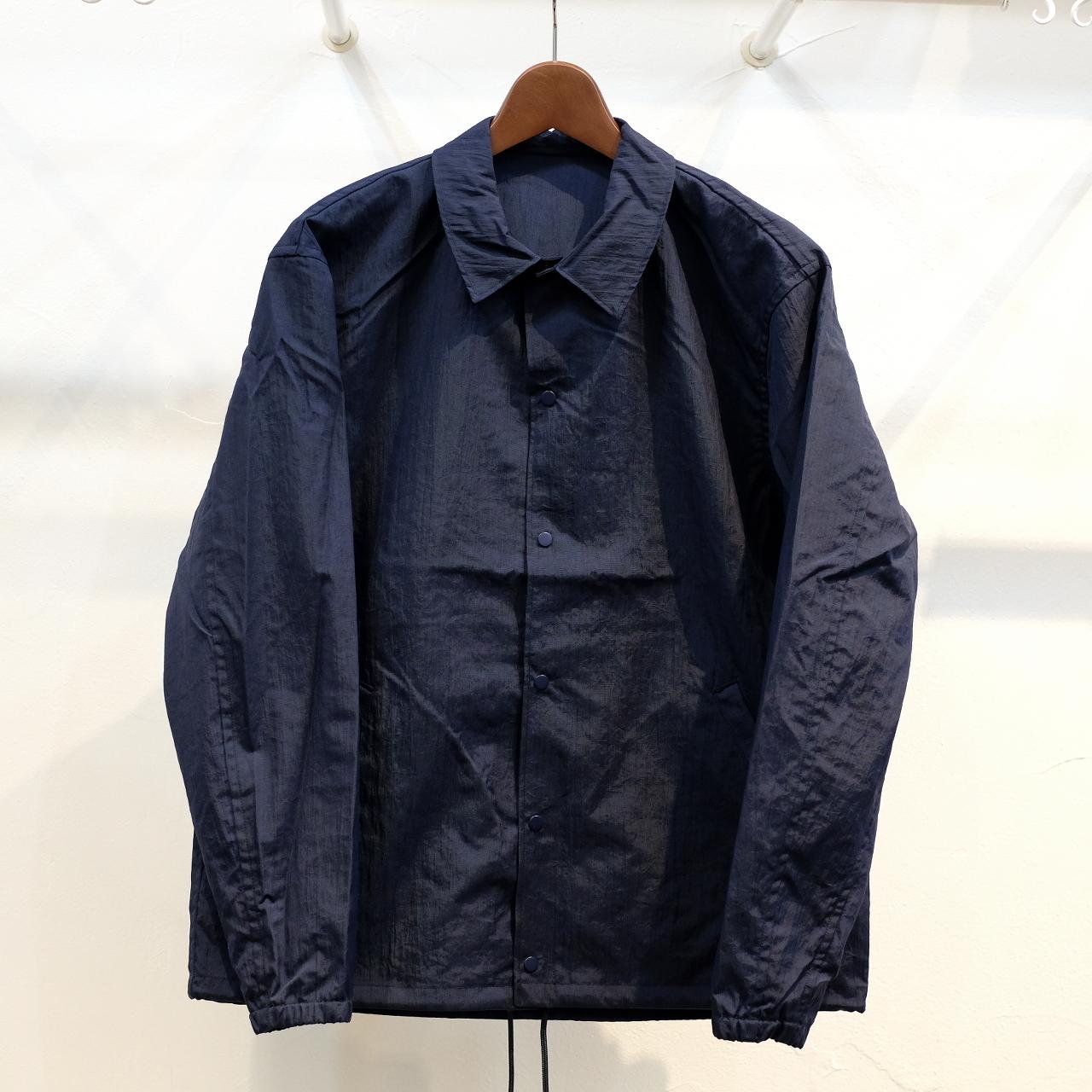 KUON(クオン) 塩縮ナイロン コーチジャケット ネイビー(アップサイクル襤褸)