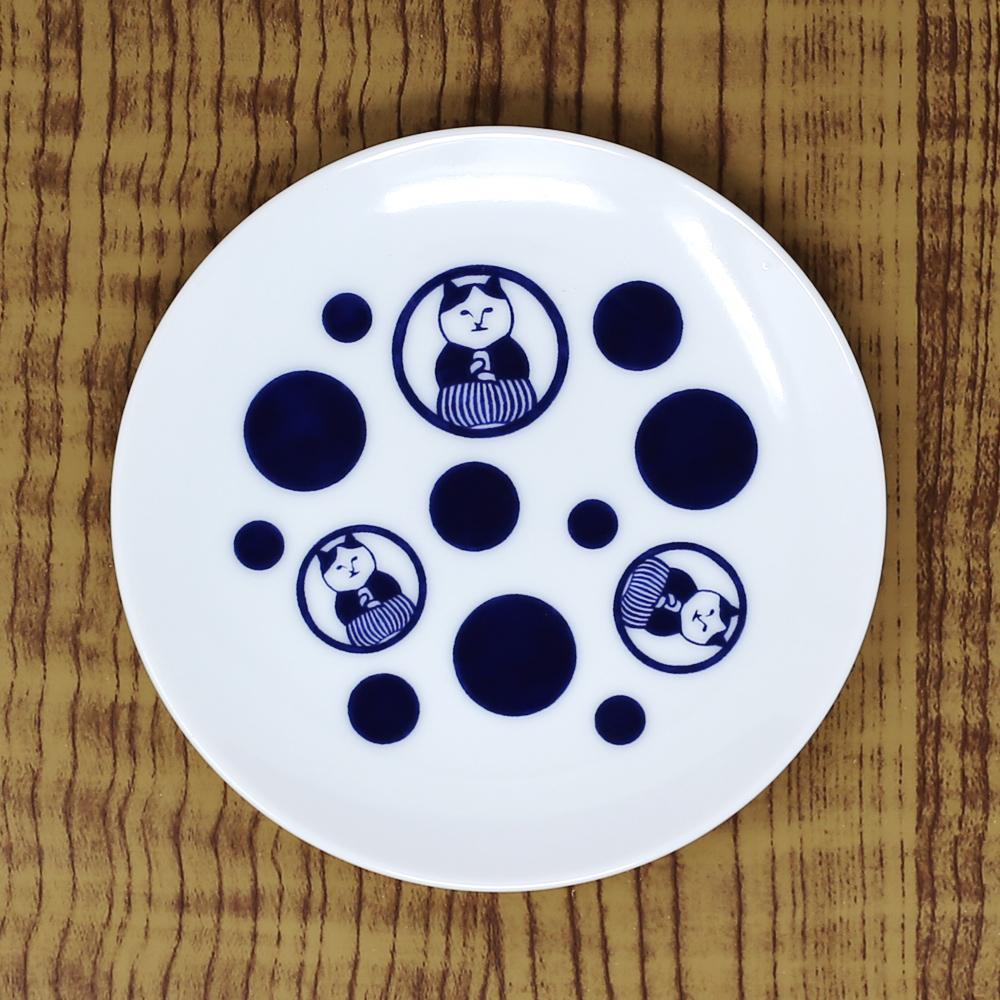 猫豆皿(ねこ茶商茶紋ドット)