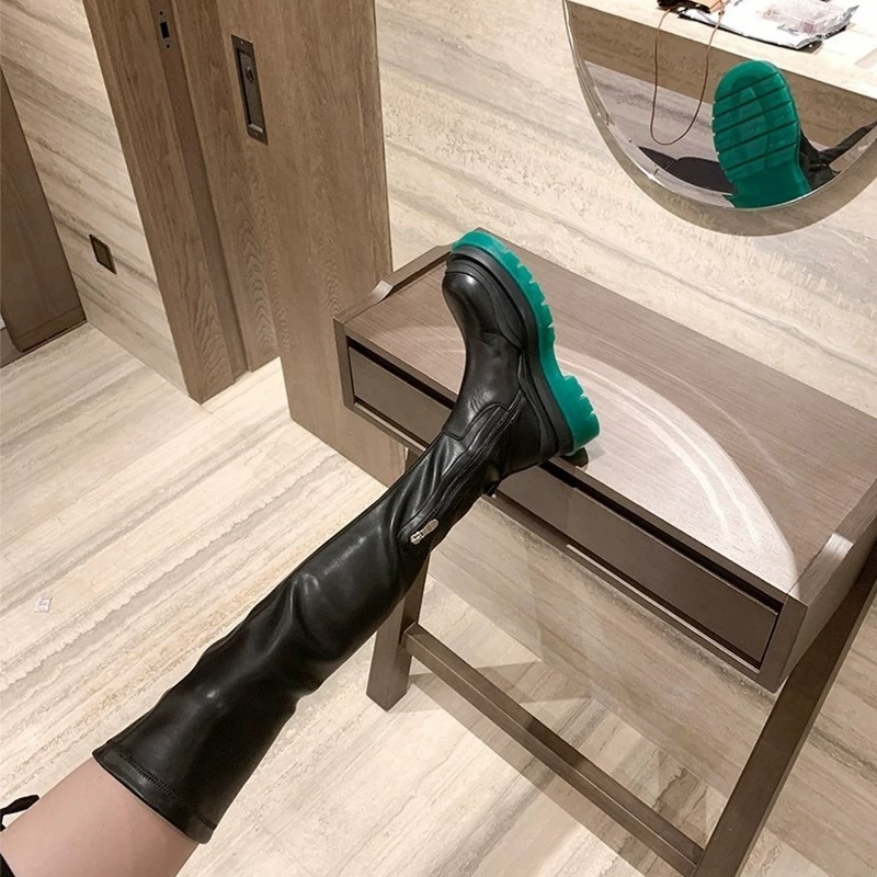 green sole long boots