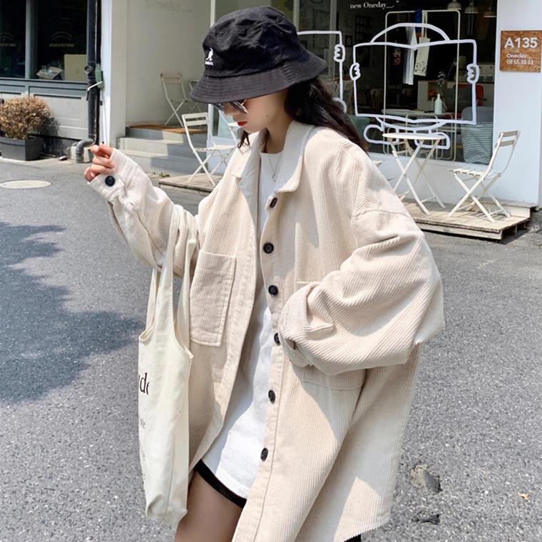 【送料無料】ゆるだぼ オーバーサイズ♡ ビッグシルエット コーデュロイ シャツ ジャケット メンズライク