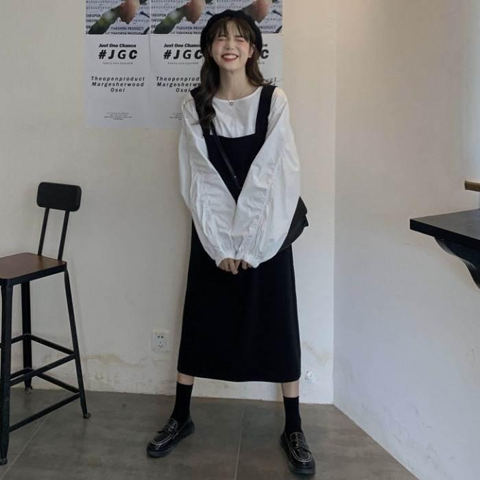【送料無料】 モノトーンコーデ♡ ボリューム袖 ブラウス シャツ × ロング丈 ジャンパースカート ワンピース セットアップ