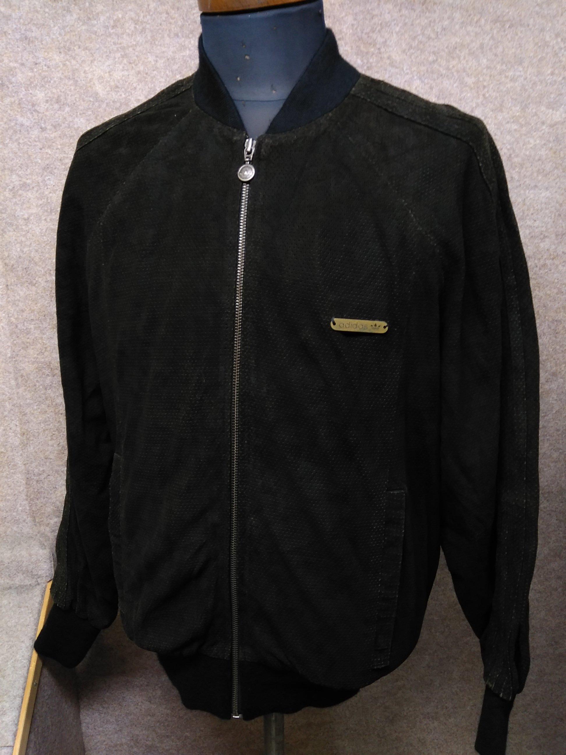 アディダス 羊革 ジャンパー ブルゾン ジャケット M 黒 u1493i