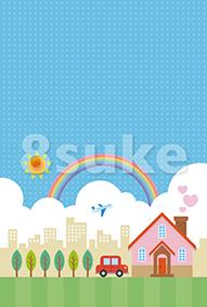 イラスト素材:青空と街並みとマイホーム(ベクター・JPG)