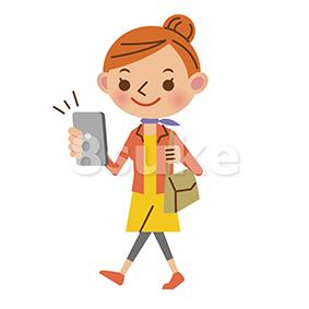 イラスト素材:歩きスマホをする私服姿の女性(ベクター・JPG)
