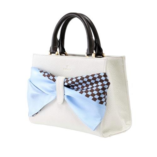 ZAWAZA オリジナルバッグ <結~Yui~> バッグ :オフホワイト スカーフ:水色(角通し)×茶(市松)