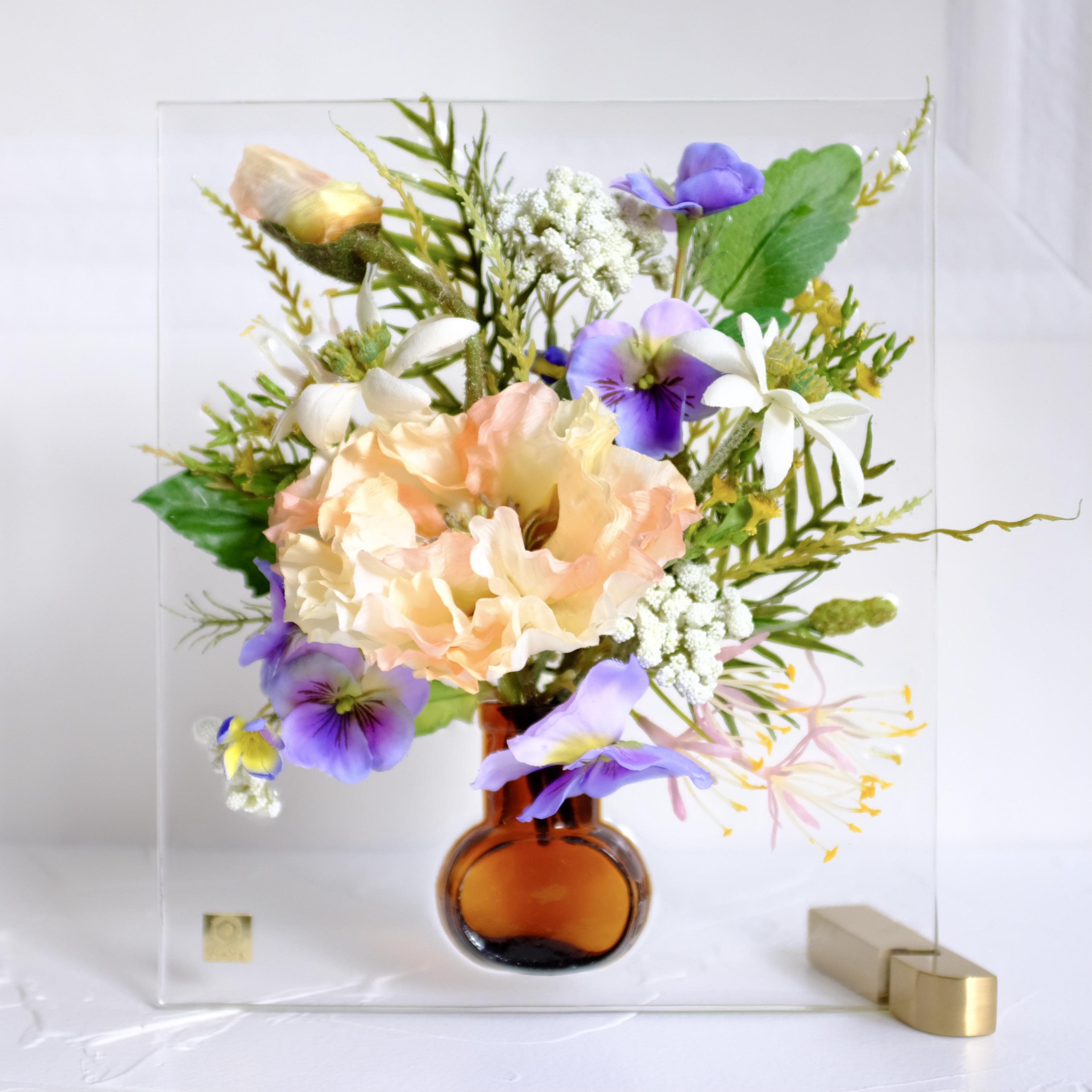 sumika M ポピーとフランネルフラワー ピーチ アンティーク花瓶シリーズ
