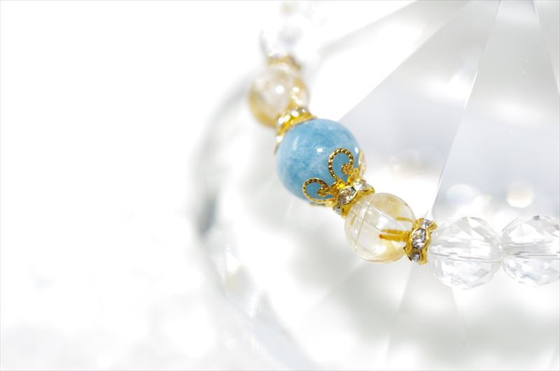 Aquamarine Birthstone(3月誕生石)【パワーストーンブレスレット 】 - 画像1